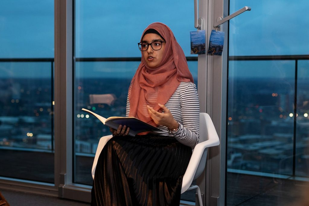 Aliyah Begum, Birmingham's Young Poet Laureate, reads at Poetry in the Penthouse