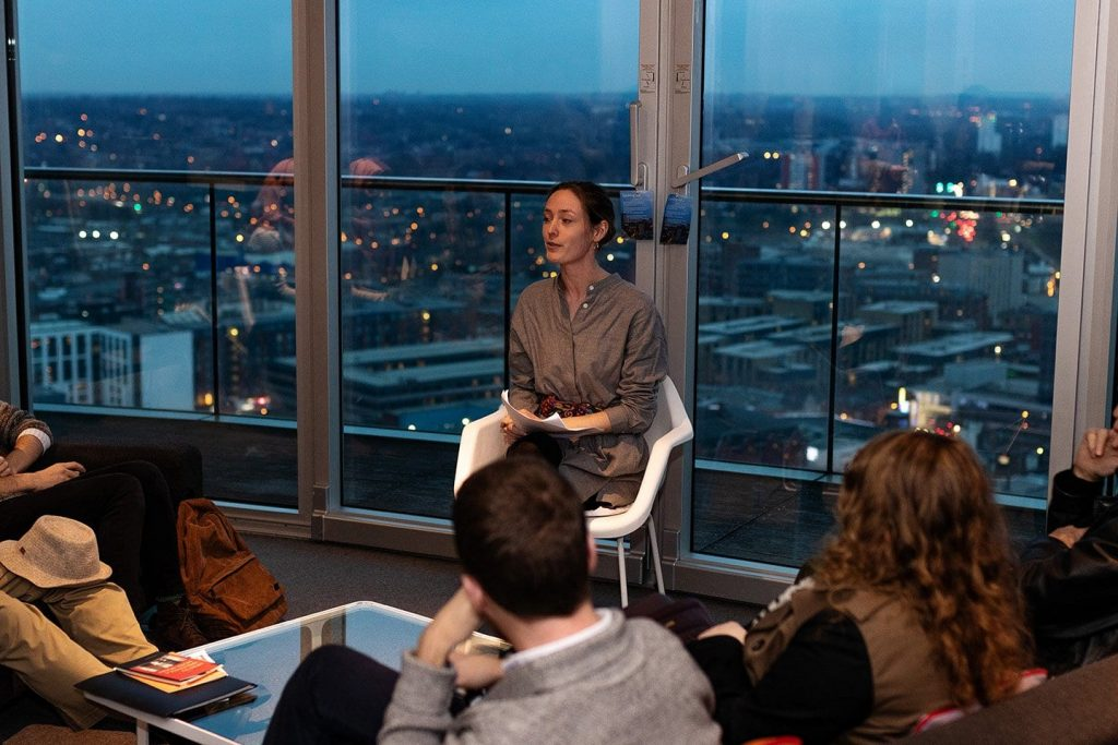 Isobel Galleymore reads at Poetry in the Penthouse