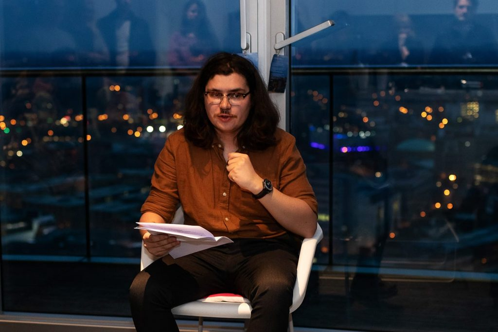 Richard O'Brien, Birmingham's poet laureate, reads at Poetry in the Penthouse