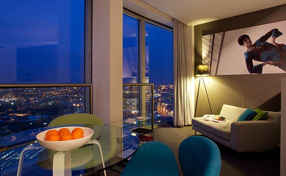 Mini studio apartment by night at Staying Cool Birmingham with view over city,