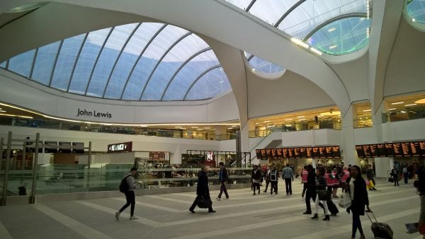 Green guests charter Grand central interior at New Street Station Birmingham