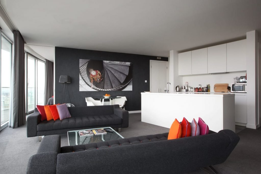 The lounge in a Roadster Penthouse apartment
